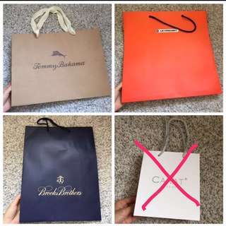 Tommy Bahamas Brooks Brothers Le Creuset Carat Paper Bags 名牌紙袋