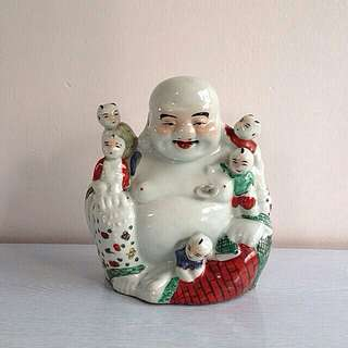 Antique Porcelain Happy Buddha With Five Children height 23cm perfect