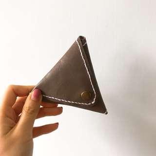 皮革班 皮革DIY 情人節禮物 真皮 三角形 散紙包 Coins bag 多色 可訂造