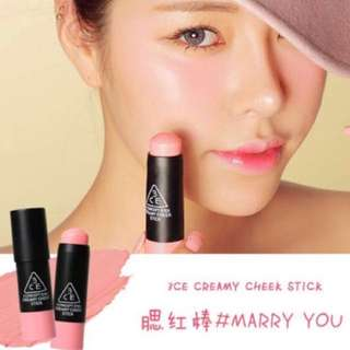 3CE Cream cheek blusher stick - Marry you #HUAT50Sale