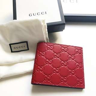 100% Authentic new Gucci red gg signature men's unisex wallet