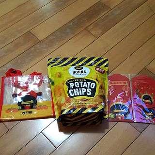 IRVINS 鹹蛋薯片大包230g 連環保袋及利是封