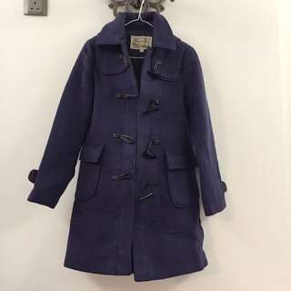 購自韓國🇰🇷藍紫色牛角長絨褸