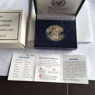 1995 United Nations 50th Anniversary $5 Silver Proof Coin