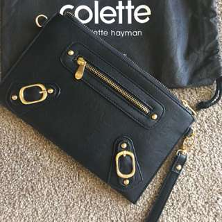 Colette black clutch purse