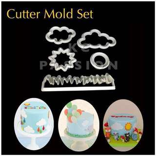 🎂 CUTTER MOLD SET TOOL [ Clouds • Grass • Flower • Round • Sun ] Cake Decorating Tool for Cookies • Fondant Cake & Cupcake • Bread Dough • Pastry • Sugar Craft • Jelly • Gum Paste • Polymer Clay Art Craft •