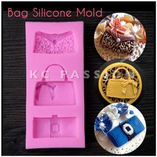 👜 BAG SILICONE MOLD TOOL for Pastry • Chocolate • Fondant • Gum Paste • Candy Melts • Jelly • Gummies • Agar Agar • Ice • Resin • Polymer Clay Craft Art • Candle Wax • Soap Mold • Chalk • Crayon Mould •