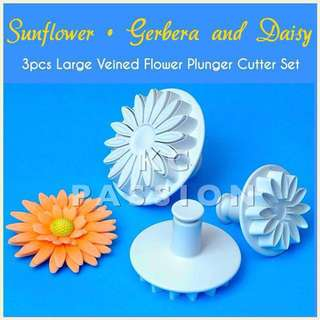 🌻BIG VEINED SUNFLOWER • GERBERA • DAISY FLOWER PLUNGER CUTTER MOLD SET TOOL [ Springless Type • LARGE size ] Cake Decorating Tool for Cookies • Fondant Cake & Cupcake • Bread Dough • Pastry • Sugar Craft • Jelly • Gum Paste • Polymer Clay Art Craft •