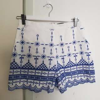 Bardot embroided shorts