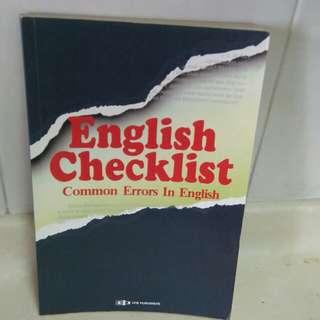 English Checklist common errors in English