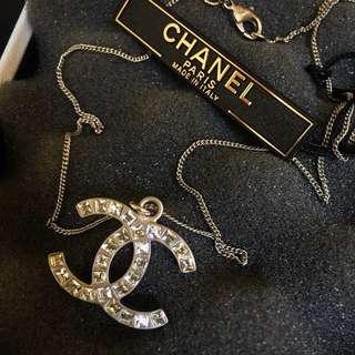 Chanel Silver CC Rhinestone Necklace