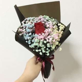 Red Rose with Pastel Rainbow Baby Breath