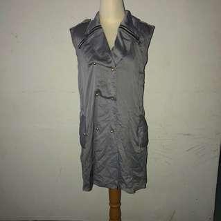Dress blouse abu abu metalik