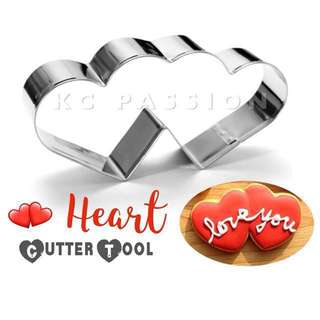 💞DOUBLE HEART METAL CUTTER MOLD TOOL for Baking Cookies • Fondant Cake & Cupcake • Dough • Pastry • Sugar Craft • Clay Craft [ Valentine's Day • Wedding • Anniversary • Engagement]