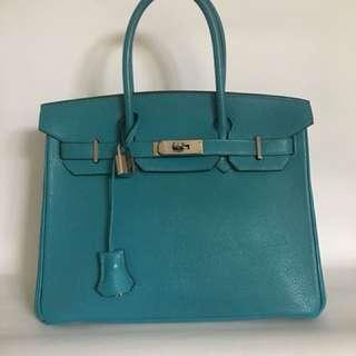 Hermes Birkin 30 Turquoise Chevre