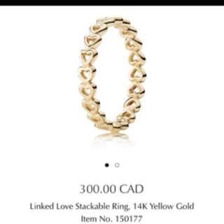 Pandora gold heart ring