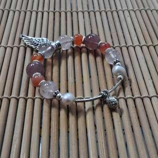 Strawberry Quartz and Dendritic Agate bracelet