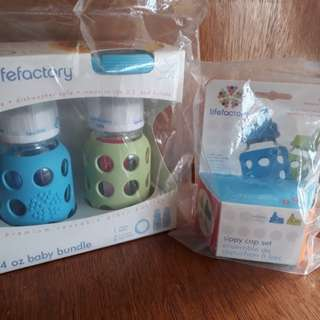 New Lifefactory  4oz baby glass bottle bundle