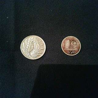 Singapore 10 cent and Malaysia 5 cent