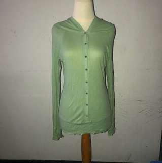 Jaket bolero cardigan hijau muda