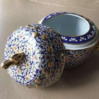 Antique benjarong floral soup bowl