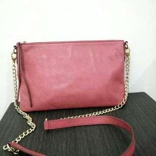 Preloved Tas Bag Clutch FOSSIL Pink Original