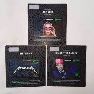 Starbucks Card Spotify Set (Lady Gaga, Metallica, Chance the Rapper)