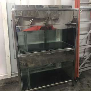 Fish 2 tier 4ft ISO tank with stainless steel frame
