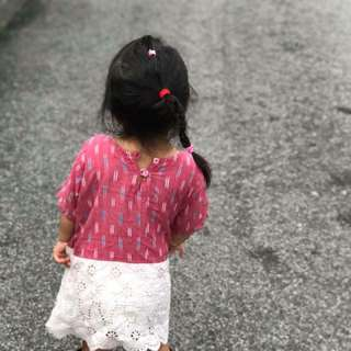 Red cotton dress for girl