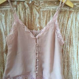 Lace pink top size s