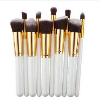 10 pcs kabuki brush set in white