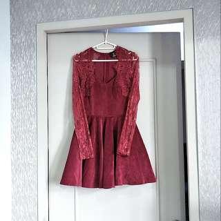 Corduroy & lace dress