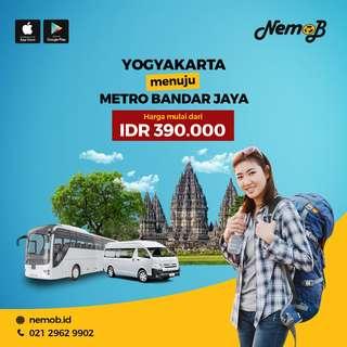 Promo Tiket Shuttle Bus Yogya - Metro Via Raja Basa Hanya 390rb di Nemob.id