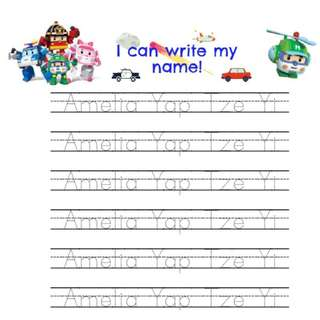 Super Wings Poli: English & Chinese Name/ ABC Penmanship Worksheet