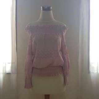 Pink Off-The-Shoulder Blouse