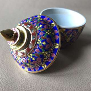 Antique benjarong mini bowl with lid