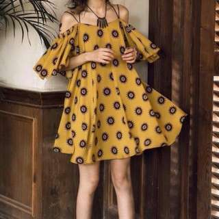Mustard Brown Chiffon Dress