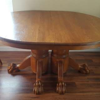 Solid oak dining set, chairs, leaf, buffet table