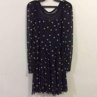 Black Heart Printed Dress