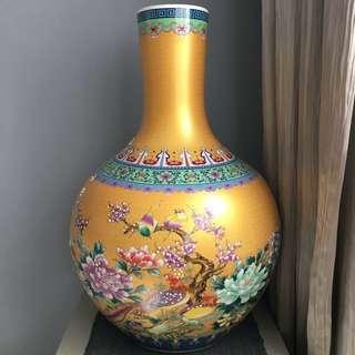 Vintage unique old, gold color vase for collector