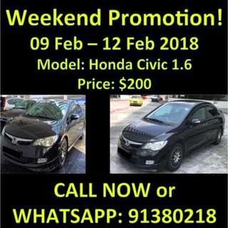 Honda Civic 1.6 9-12 Feb SALE WEEKEND