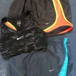 Nike Pro sports bra and Nike Pro dry fit shorts