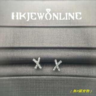 18K白金鑽石耳環