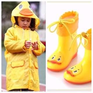 Brand new rain boots size 25(inner 16cm) $15   and raincoat $7