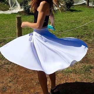 White Neoprene A frame midi skirt