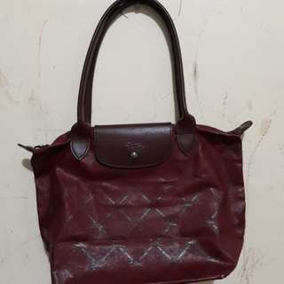 Auth Longchamp Medium Longhandle