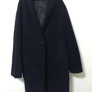 Uniqlo大衣外套深藍色