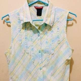 Guess Jeans Plaid Mint Sleeveless Shirt