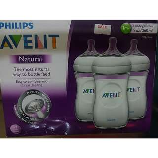 MADE IN ENGLAND Philips Avent Natural feeding bottle 9oz 3pk