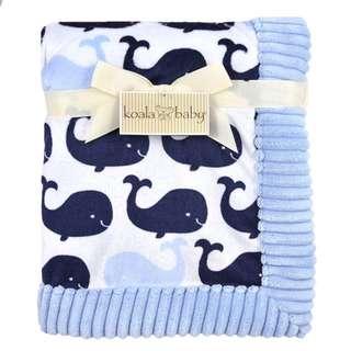 Koala Baby Boys Blue Whale Printed Velboa Blanket